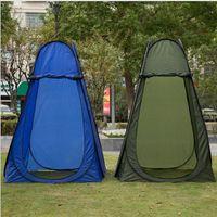 açık oda çadırları toptan satış-Açık Pop Up Çadır Kamp Duş Gizlilik Tuvalet Değiştirme Odası Plaj Taşınabilir Katlanabilir Çadır 2 renk LJJK1152