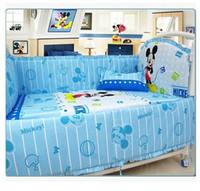 berço branco venda por atacado-Bedding Newborn Bedding set Baby Cartoon Kids Crib Bed Sheets 100% Cotton Baby Bedclothes w  Pillow Bumpers Mattress