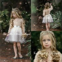 Wholesale girls pagent dresses resale online - Cute Pagent Girl Dresses V Neck Sequins Feather Long Sleeves Flower Girl Dress Above Knee Length Ribbon Bow Ruffle Short Birthday Gowns