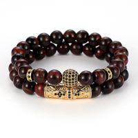 ingrosso palline da bracciale-2pc / set Cubic Zirconia Ball Bracelet 8mm Red Blue Tiger Eye Stone Designer di lusso Gioielli Bracciali donna Moda Uomo Braccialetti Regalo