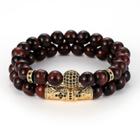 Wholesale jewelry gold ball set for sale - Group buy 2pc set Cubic Zirconia Ball Bracelet mm Red Blue Tiger Eye Stone Luxury Designer Jewelry Women Bracelets Fashion Mens Bracelets Gift