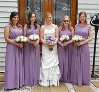 ceintures perlées violettes achat en gros de-Pourpre clair Une ligne robes de demoiselle d'honneur Longueur de plancher Ceintures perlées Cou festonné Longue robe de soirée de mariage élégant