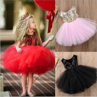 kostüm düğün önlükleri toptan satış-Bebek Giysileri Pullu Balo Elbiseler Prenses Parti Elbise Düğün Nedime Elbisesi Tül Örgün Dans Elbise Sahne Kostüm Vestidos B4889