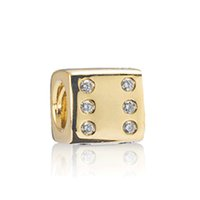 Wholesale dices number resale online - NEW Sterling Silver Classic Exquisite Style Noble k Gold Dice Charm Beaded Inlaid Zircon Original Jewelry D