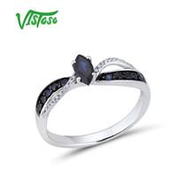 14k 585 diamantring großhandel-VISTOSO 14K 585 Weißgold Ring Für Frauen Echten Ring Schimmernden Diamant Blau Saphir Elegante Hochzeit Band Trendy Edlen Schmuck