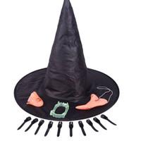 falsche zähne requisiten großhandel-Halloween Scary Party Requisiten Hexenhut Kinn Nase Falsche Zähne Finder Kinderbetten Halloween Requisiten Cosplay Haunted House Dekorationen