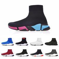 botines negros para mujer al por mayor-Zapatillas de deporte de diseño Speed Trainer Luxury Black Red Triple Black Fashion Flat Sock Boots Zapatos casuales luxe mens women booties Runner chaussette