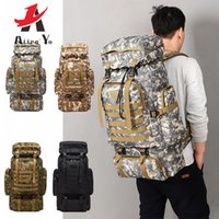 Wholesale camel outdoor backpack resale online - 80L Arrmy style Waterproof Climbing Hiking Military Tactical Backpack Bag Camping Mountaineering Outdoor Sport Molle P BagMX190903