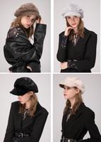 ingrosso cappello di pelliccia marrone-Stand Focus Donna Faux Fur Cabbies Gatsby Berretto Cappello da donna Ladies Fashion Stylish Winter Warm Thermal Nero Marrone Beige Grigio