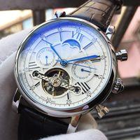 relojes suizos de cuero al por mayor-Reloj de lujo superior Marca suiza para hombre Reloj mecánico automático Cuero negro Fase lunar Casual Militar Relojes deportivos Regalo Relogio masculino