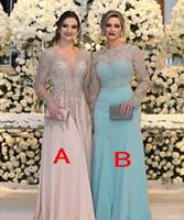 vestidos de novia madre se ruborizan al por mayor-Lujo con cuentas de talla grande Madre de la novia Novios vestidos con manga larga 2019 Blush Pink Mint Madre Ocasión formal Vestidos de fiesta