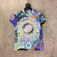 modelos de jaqueta venda por atacado-T-shirt print floral de manga curta modelos jaqueta de verão casal T-shirt da marca da maré em torno do pescoço de mangas curtas 2019 novo S1 quente das senhoras dos homens