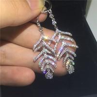 ingrosso orecchino di goccia 925 cz-Moda foglia goccia orecchino 925 sterling silver Micro impostazione diamante cz partito matrimonio ciondola gli orecchini per le donne regalo gioielli da sposa