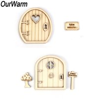 Wholesale home garden accessories for sale - Group buy OurWarm Christmas Gift D Wooden Fairy Garden Door DIY Craft New Year Christmas Ornaments Home Decoration Accessories SH190916