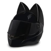 cascos de moto de cara completa xxl al por mayor-NTS-003 NITRINOS Marca casco de motocicleta cara completa con orejas de gato Personalidad Casco de gato Moda Casco de moto tamaño M / L / XL / XXL