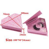etiqueta de forma venda por atacado-10 PCS Custom Logo Glitter Embalagens 3D Mink cílios Luxry Box Para cílios forma de tipo diamante redondo Embalagem etiqueta da caixa Privada