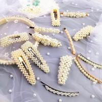 perlas de horquilla al por mayor-Moda mujer perla pinza de pelo 10 unids / set elegante diseño coreano perla pinzas para el cabello de metal partido de la señora linda horquilla accesorios para el cabello TTA802