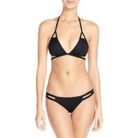 beaux bikinis achat en gros de-Chaude Belle Bikini 1 Set Femmes Sexy Bandage Rembourré Soutien-Gorge Plage Belle Halter Dos Nu Vintage De Natation Bikini Set Swimwer Biquini