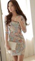 mini-robes mode coréenne achat en gros de-Le printemps et l'automne nouvelle robe coréenne slim print sexy fashion coréenne