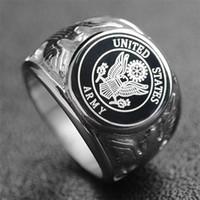 anéis de âncora de jóias venda por atacado-Oficiais de aço inoxidável Estados Unidos Corpo de Fuzileiros Navais USMC anel US Marinha Anel USN Militar do EXÉRCITO e FORÇA AÉREA Anel de Ancoragem dos homens Jóias
