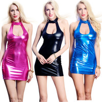 Wholesale sexy leather women costumes online - Hot Sexy Women Shiny Metallic Bodycon Mini Dress Wetlook Low Cut Halter Sleeveless Party Dancing Dress Faux Leather Catsuit
