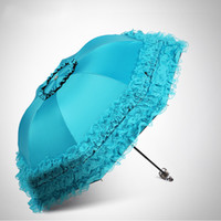 prinzessin regenschirm blau großhandel-Spitze Blume Doppelschicht Regenschirme Blauer Spitze Hochzeit Sonnenschirm Großes Geschenk Mädchen Regenschirm Frauen Sonne Regen Prinzessin Regenschirme T8190619