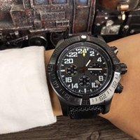 браслеты для батареек оптовых-Высококачественные роскошные часы 43 мм роскошные мужские часы Avenger кварцевый аккумулятор Хронограф Черный кожаный браслет Сапфир мужские часы наручные часы