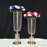 Wholesale Luxury Tall Acrylic Crystal Wedding Road lead props wedding table centerpieces event party decor wedding aisle walkway flower vase