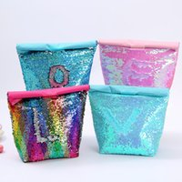 isolierte beutelkühler großhandel-4styles Mermaid Sequined Coolers Handtasche Bento Bag Office Food Container Picknick im Freien Kinder Kinder Insulated Lunch Bag FFA2913