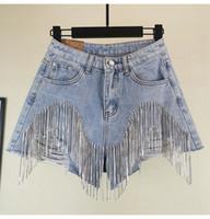 ingrosso jeans fori femminili-2019 Summer Fashion vita larga denim shorts pesanti strass frange foro Jeans Shorts livello femminile delle donne Leg