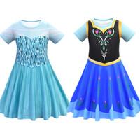 Wholesale fancy dresses short resale online - Summer Clother Snow Queen II Fancy Princess Dress for Girls Princess Costume Christmas Party Kids Short Sleeve Dresses M947