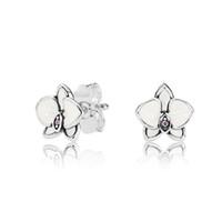 ffe6579ca4a1 Esmalte blanco Magnolia pequeños pendientes de flores para Pandora 925  plata esterlina lindo mujeres niñas Stud pendientes caja de regalo conjunto