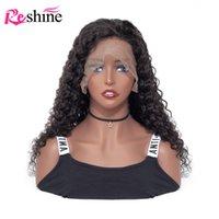 inç insan danteli peruk toptan satış-13x4 Dantel Ön İnsan Saç Peruk Öncesi Mızraplı Reshine 10-24 İnç Malezyalı 13x6 Derin Dalga Dantel Açık Peruk Tutkalsız İçin Siyah Kadınlar