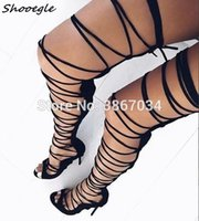 ingrosso ginocchio alto legare sandali-SHOOEGLE estate Celebrity Gladiator Sandals Botas Donne tacco alto Lace Up Booties Sandali donna Croce Legato Open Toe Shoes