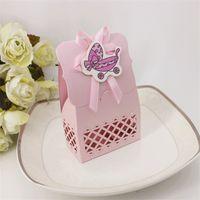 pequeñas cajas de favores de la boda al por mayor-Pink Baby Wedding Candy caja que ahueca hacia fuera la caja de chocolate Blue Little Bear Carton Baby Shower Favors talla láser 7 8ktb1