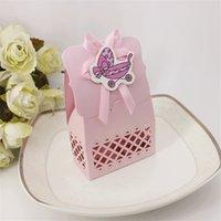 kleine schachteln hochzeitsbevorzugungen großhandel-Rosa Baby Hochzeit Candy Box aushöhlen Schokoladenetui Blue Little Bear Karton Baby Shower Favors Laser Carving 7
