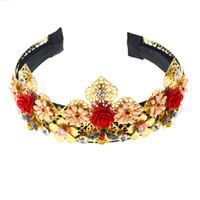 handgemachter blumencharme großhandel-2019 neue Design Mode Charm Show Limited Edition Barock Crown Volle Blumen Handgemachte Haarbänder Kristall Breites Stirnband Palast Hochzeit Haar