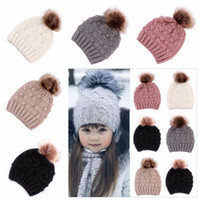 Wholesale toddler crochet hats resale online - Infant Baby Soft Knit Cap Toddler Kids Beanie Pom Fur Hats Child Mohair Cotton Caps Children Crochet Solid Hat Baby Winter PomPom CapsZYQ49