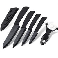 meyveler soyucu toptan satış-3 4 5 6 inç Seramik Bıçak Set Siyah Kolu Soyma Meyve Yardımcı Şef Ev Mutfak Aracı Soyucu Kın Keskin ile Bıçaklar