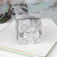 Wholesale baptism gifts decoration resale online - 50 Cross Candy Box With Ribbon Favor And Gift Box For Baby Shower Baptism Birthday Wedding Decoration Party Supplies