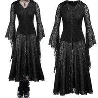 vestidos casuales de disfraces al por mayor-Disfraces de Halloween Cosplay Disfraz de bruja vampiro aterrador para mujer Disfraz de mascarada victoriana medieval Vestido largo de encaje negro