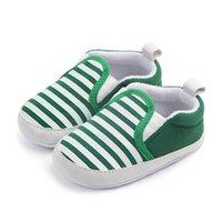bebek oğlan yeşil ayakkabısı toptan satış-Toddler Yenidoğan Erkek Bebek Ayakkabıları Beşik kaymaz Ayakkabı Taban Çizgili Pamuk 0-18Month Yeşil Mavi