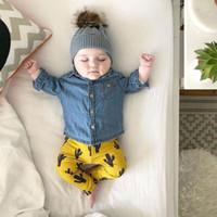 blusa amarilla bebé al por mayor-Primavera Ropa de otoño Bebé Niña Niño Camisa Blusa Denim Manga Larga Amarillo Cactus Pant Legging Infantil Traje Ropa para niños nueva