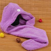 schnelles trockenes haartuch großhandel-Magic Quick Dry Hair Duschhauben Mikrofasertuch Trocknen Turban Wrap Hat Caps Spa-Baden