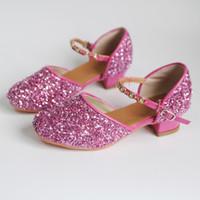 topuk ayakkabıları kız çocukları toptan satış-Kızlar Çiçek Casual Glitter Çocuklar Yüksek topuk Girls Ayakkabı Kelebek Knot Mavi Pembe Gümüş 11 için Prenses Çocuk Deri Ayakkabı