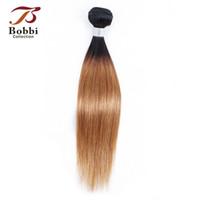 insan saçı iki renkli uzatma toptan satış-8A Brezilyalı Bakire Saç Örgü Demetleri Düz Ombre Bal Sarışın Renk 1B / 27 Iki Ton 1 Paket 10-24 inç Remy İnsan Saç Uzantıları