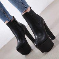 botas de 16cm al por mayor-Nueva llegada 16CM botas salvajes de las mujeres de tacón alto tobillo de las mujeres de invierno botas de plataforma talones gruesos zapatos de las mujeres más el tamaño 34-40