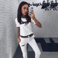 moda mulheres verão esporte roupas venda por atacado-Mulheres designer de duas peças set 2019 primavera e verão nova moda casuais calças de impressão roupas esportivas de luxo 2 peça mulher set roupas femininas