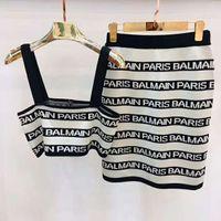 tasarımcı parça elbiseler toptan satış-Bayan Tasarımcı Iki parçalı Elbise Kadın İki Adet Çizgili Örme Elbiseler Bayan Lüks Seksi Marka Esneklik Elbiseler