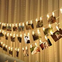 luces de red led de arbol de navidad al por mayor-5M 50LED 3M 20LED 1M 10LED Luz de la foto Cadena Luz de la noche Fiesta navideña Boda Cumpleaños Decoración del hogar Foto Clip Luz
